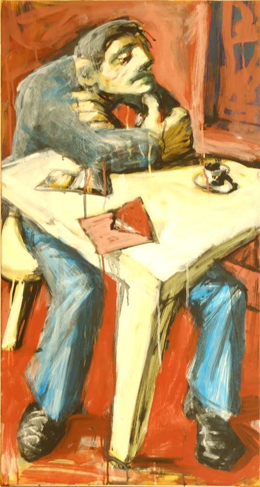 Kunst kaufen Duesseldorf - Mann denkend Tisch